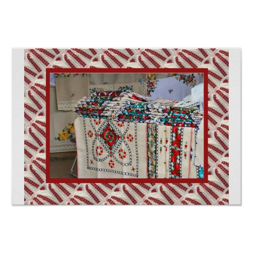 Romanian craft, embroidered tablecloths print