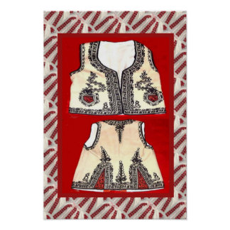 Romanian craft embroidered waistcoat poster