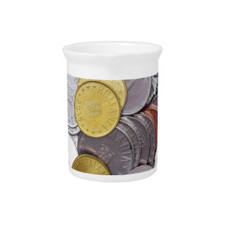 Romanian currency coins beverage pitchers