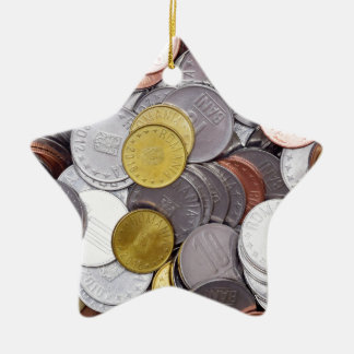 Romanian currency coins ceramic ornament