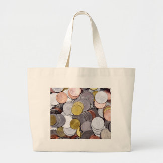 Romanian currency coins large tote bag