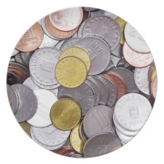 Romanian currency coins plate