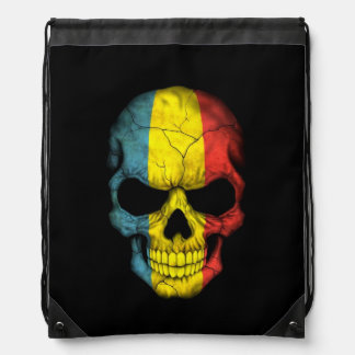Romanian Flag Skull on Black Drawstring Bag