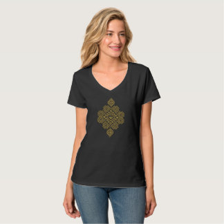 ROMANIAN FOLK MOTIF Women's V-Neck T-Shirt