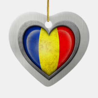 Romanian Heart Flag Stainless Steel Effect Ceramic Heart Decoration