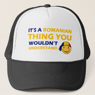romanian smiley design trucker hat