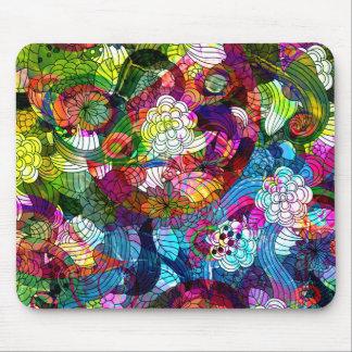 Romanic Colourful Retro Flower Design Mouse Pad