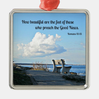 Romans 10:15 How beautiful are the feet... Silver-Colored Square Decoration