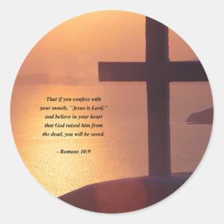 ROMANS 10:9 ROUND STICKER