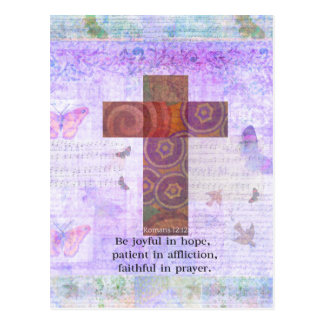 Romans 12:12 - Be joyful in hope, patient BIBLE Postcard