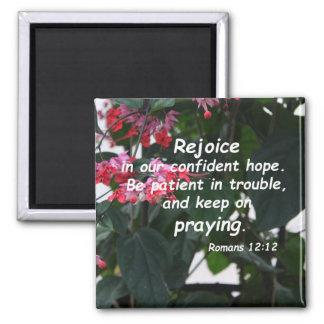 Romans 12:12 square magnet