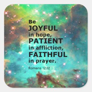 Romans 12:12 square sticker