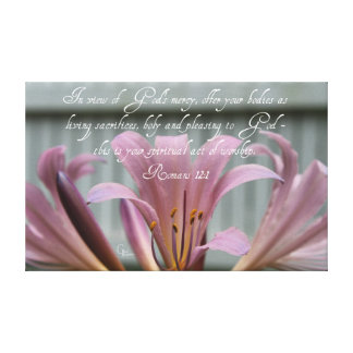 Romans 12:1 Lilac Lilies Canvas Print