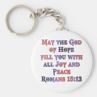 Romans 15:13 basic round button key ring