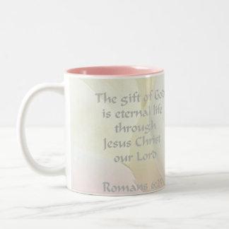 Romans 6:23 Rose Scripture Two-Tone Coffee Mug