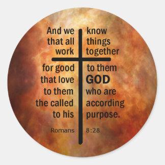 Romans 8:28 classic round sticker