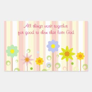 Romans 8:28 Pink Stripe and Flower Christian Quote Rectangular Sticker