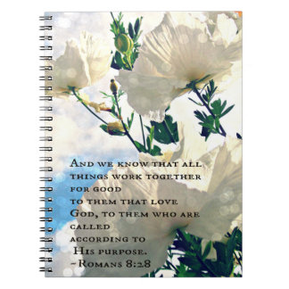 Romans 8:28 White Flower Notebook
