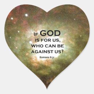 Romans 8:31 heart sticker