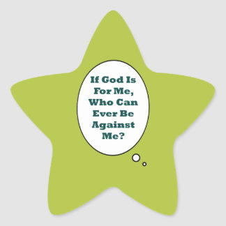 Romans 8:31 On Acid Green Background. Motivational Star Sticker