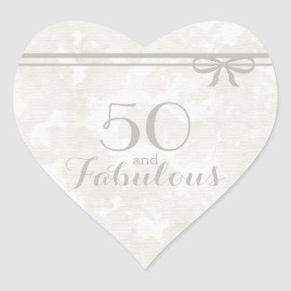 """Romantic and Elegant Gray """"50 and Fabulous"""" Heart Sticker"""