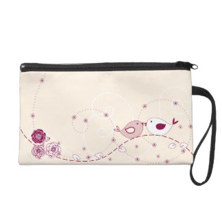 Romantic and Pretty Flowers, Swirls and Lovebirds Wristlet Clutches