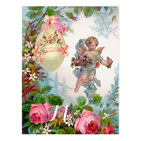 ROMANTIC ANGEL GATHERING PINK ROSES AND EASTER EGG POSTCARD