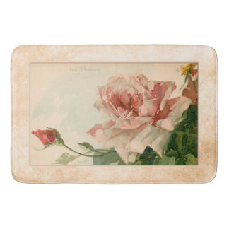 Romantic Antique Pink Rose Bath Mat
