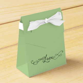 Romantic Apple Green with Calligraphy Love Favour Box