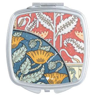 Romantic Art Deco Vintage Coral Yellow Aqua Floral Makeup Mirrors