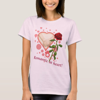 Romantic  at heart on pink T-shirt