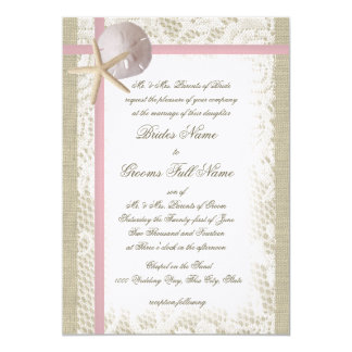 Romantic Beach and Lace Pink Wedding Card