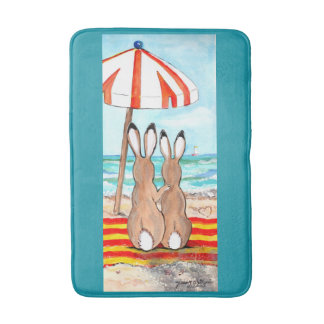 Romantic Beach Bunny Rabbits Designer Bath Mat