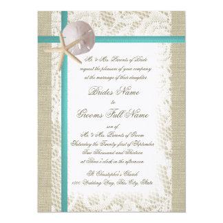 Romantic Beach Burlap and Lace Aqua 14 Cm X 19 Cm Invitation Card