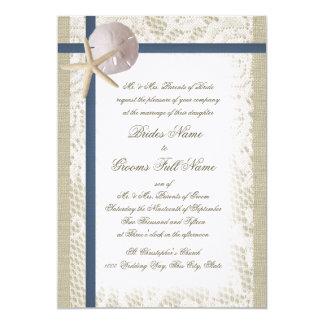 Romantic Beach Burlap and Lace Navy Blue Card