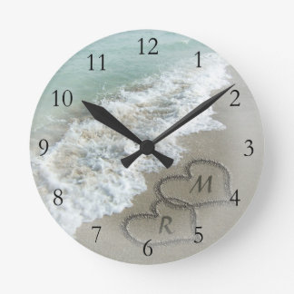Romantic Beach Hearts Clock