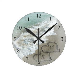 Romantic Beach Hearts Round Clocks