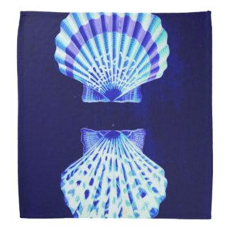 romantic beach  ocean blue vintage sea shells bandanna