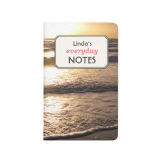 Romantic Beach Ocean Photo Custom Text Label Journals