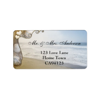 Romantic Beach Wedding Address Label