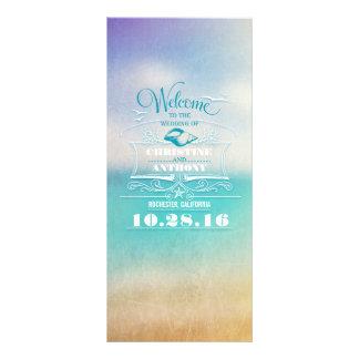romantic beach wedding programs - ombre blue sea rack cards