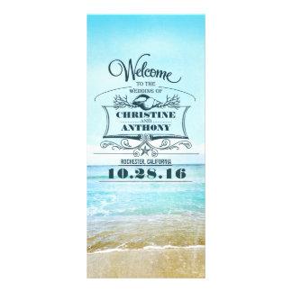 romantic beach wedding programs personalised rack card