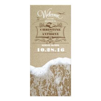 romantic beach wedding programs with sea foam personalised rack card