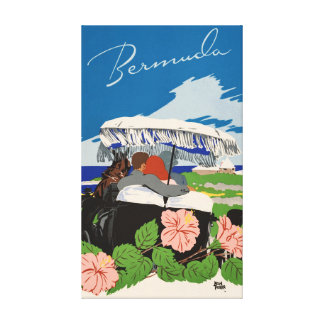 Romantic Bermuda retro vintage travel ad Canvas Print