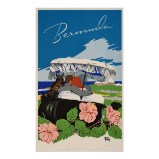 Romantic Bermuda retro vintage travel ad Poster