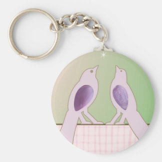 Romantic Birds Basic Round Button Key Ring