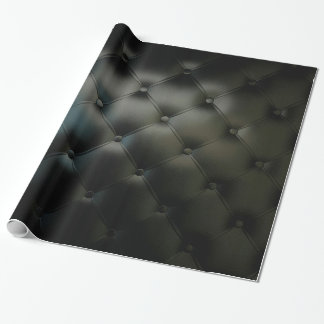 Romantic Black Beautiful Leather Wrapping Paper