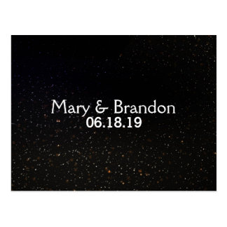 Romantic Black Starry Universe Nebula Wedding Postcard