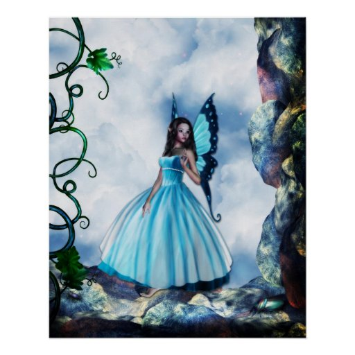Romantic Blue Butterfly Fairy Poster