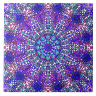 Romantic blue-colored mandala ornament arabesque ceramic tile